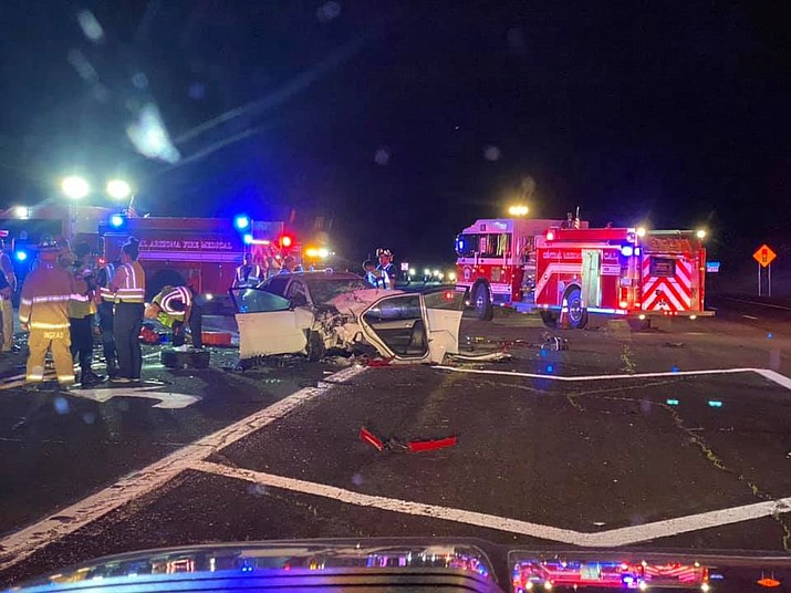 A Toyota sedan sits in the middle of Highway 69 after a 27-year-old male driver, a 25-year-old female passenger, and two children ages 6 and 1-month, were hit head-on by a Dodge Challenger on Sunday, April 4, 2021, in Dewey-Humboldt. The two adults and two children were airlifted to Phoenix-area hospitals. The 67-year-old male driver of the Challenger was arrested on DUI charges. (CAFMA/Courtesy)