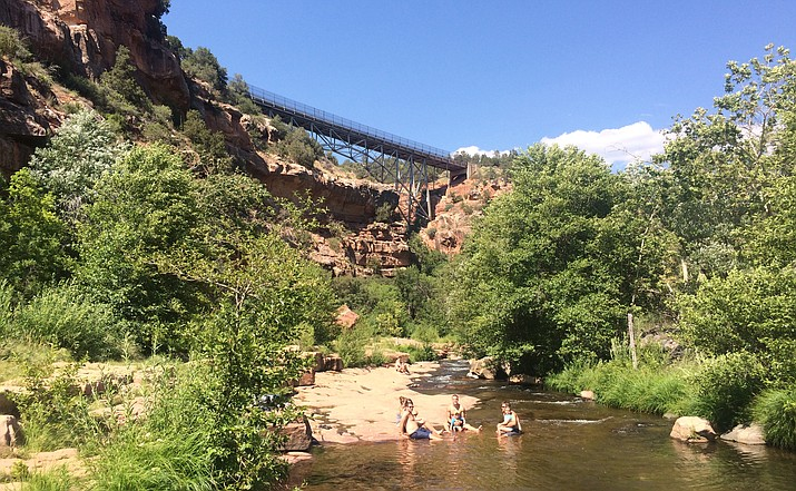 The parking lot at Midgley Bridge Oak Creek Canyon will be closed Monday and Tuesday for repainting.