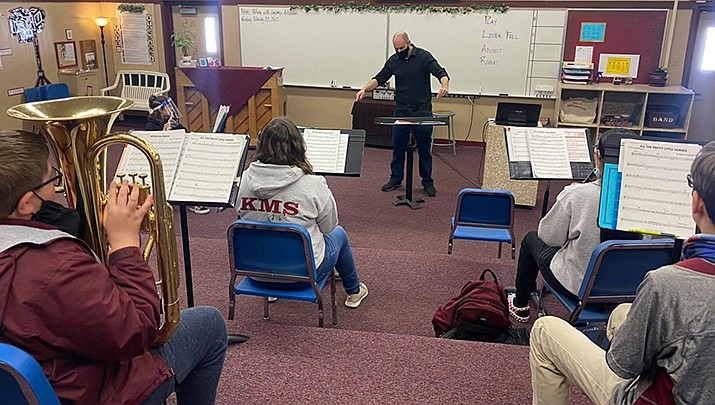 Members of the Kingman Middle School Band, shown above during a practice session, will be among the performers when the Sounds of Kingman opens its 11th outdoor concert season on Sunday, April 18. (Kingman Middle School courtesy photo)