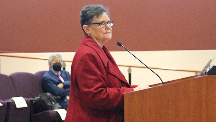 Mohave County Economic Development Director Tami Ursenbach, shown speaking at a recent Mohave County Board of Supervisors meeting in this Miner file photo, was the recipient of a Women With Vision Award at the second annual National Association of Women Business Owners virtual awards ceremony earlier this year. (Miner file photo)