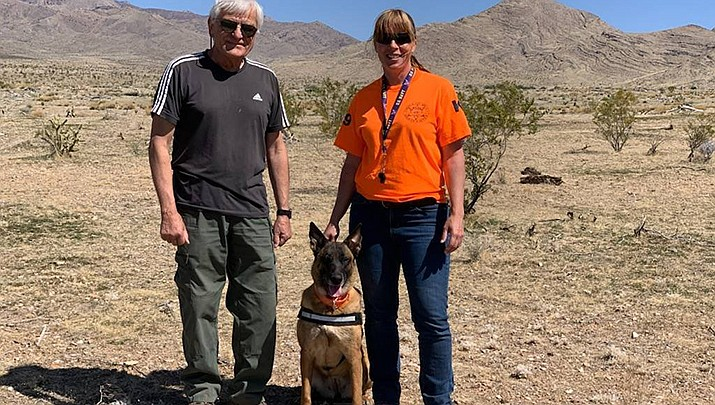 K-9 Lily is shown with her handler and search and rescue volunteer Anna Anderson, right, and Beat Marti, the certification instructor. (MCSO courtesy photo)
