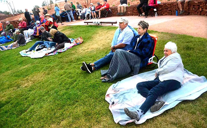 """Sedona Mayor Sandy Moriarty, right, attends a musical event at the pavilion at Posse Grounds in Sedona in March of 2017. The city just announced that the Hub at Posse Grounds will be used for a one-day vaccination clinic."""" """"We hope everyone takes advantage of this opportunity and if there is a lot of demand, we plan on offering more of these events in the future,"""" Moriarty said in the city's press release Tuesday.  VVN/Vyto Starinskas"""