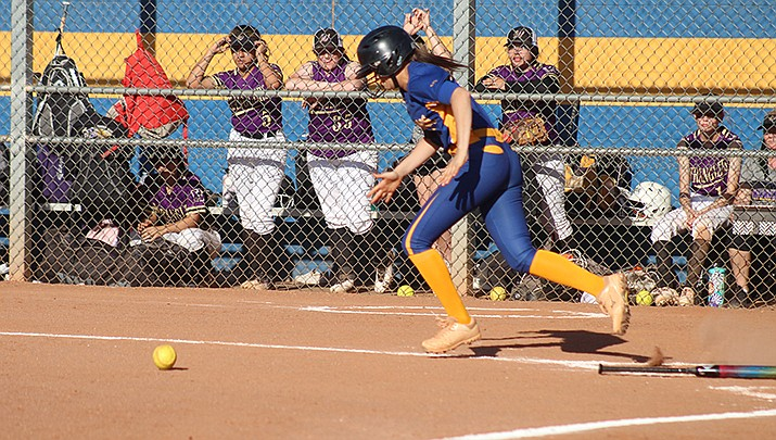 Amber Lopez of Kingman High School lays down a bunt single during the Lady Bulldogs 5-2 win over visiting Wickenburg on Tuesday, April 6. Kingman improved to 7-0 on the season with the win. (Photo by Casey Jones/Kingman Miner)