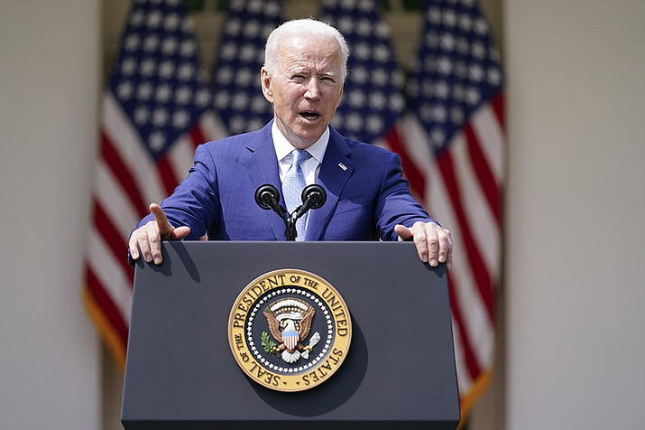 President Joe Biden speaks about gun violence prevention in the Rose Garden at the White House, Thursday, April 8, 2021, in Washington. (Andrew Harnik/AP)