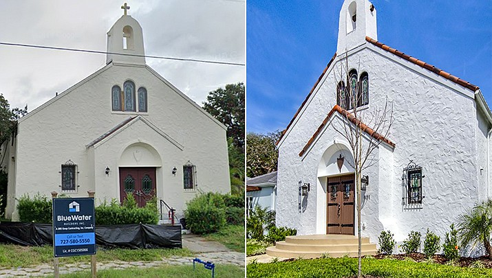 A 1928 church in St. Petersburg, Florida, has been renovated into a four bedroom home, complete with a large stained glass window of Jesus. The home was slated for closing at $1.3 million last week. The home's great room features high ceilings with the original exposed scissor trusses, and comes with a few pews. (Google and courtesy photo)