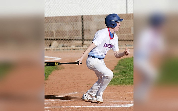 Mason Rayburn, shown batting in a game earlier this season, walked twice and scored three runs in Camp Verde's 16-1 win April 5 against Sedona-Red Rock. VVN/Bill Helm