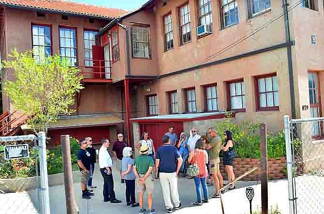 Jerome Town Council and staff met on-site with representatives of Verde Exploration, the current owners of the high school complex, in 2018 to discuss possible future plans for the large buildings at the entrance of town. VVN/Vyto Starinskas