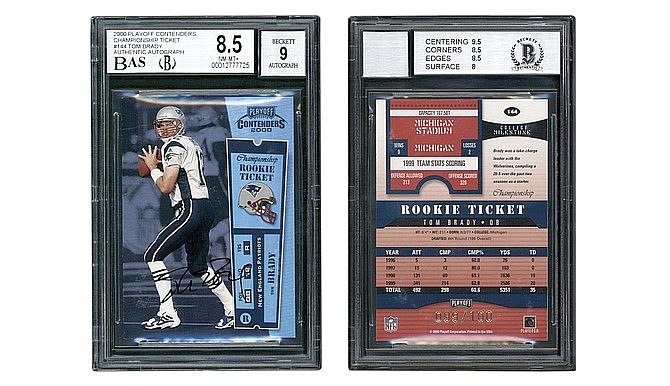 This undated photo set provided by Lelands shows the front and back of quarterback Tom Brady's rookie football card, which recently sold through the online sports auction house for $2.25 million. (Lelands via AP)
