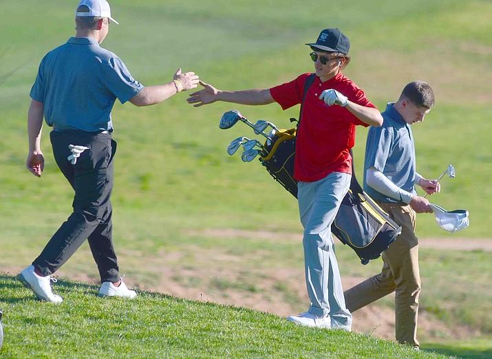 Camp Verde junior Wyatt Parker (center), shot a 61 on Tuesday, then a 55 on Thursday. This week, Camp Verde golfs on April 13 at Antelope Hills in Prescott, then Thursday in Williams at Elephant Rocks. VVN/Vyto Starinskas