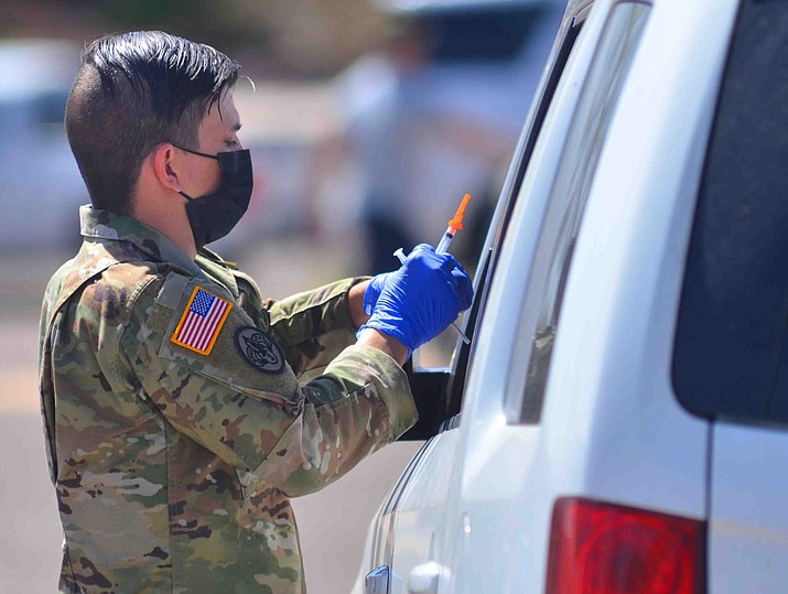 Motorists pulled up for a vaccination drive at the Cliff Castle Casino Hotel Tuesday. The event was a partnership between the Yavapai-Apache Nation and the Arizona National Guard. VVN/Vyto Starinskas