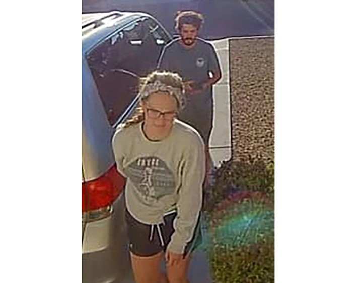 In this undated image released by the Inyo County Sheriff's Office shows campers Alexander Lofgren, 32, top, and Emily Henkel, 27. An Arizona tourist died and his wife was rescued Friday, April 9, 2021 after they went missing in Death Valley National Park. Alexander Lofgren, 32, and Emily Henkel, 27, were found on a steep ledge near Willow Creek in the California desert park but Lofgren was dead, according to a statement from the Inyo Creek Sheriff's Office.(Inyo County Sheriff's Office via AP)