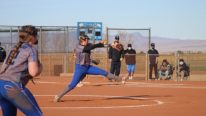 Abbie Bean, shown pitching in a game earlier this season, threw a four-hitter and struck out eight batters to lead Kingman Academy to a 17-2 win over Arizona Lutheran in a high school girls softball game on Friday, April 9. (Photo by Casey Jones/Kingman Miner)