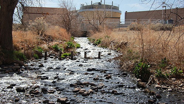 The Santa Fe, New Mexico wastewater treatment plant is shown at the headwaters of the Santa Fe River. (Courtesy photo by Allen Best)