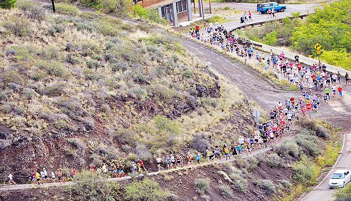 The Cocodona 250 ultramarathon race is planning to come through the Town of Jerome and will pass near the starting route of the Jerome Hill Climb, (in this file photo) according to a map on its website. File/VVN/Vyto Starinskas