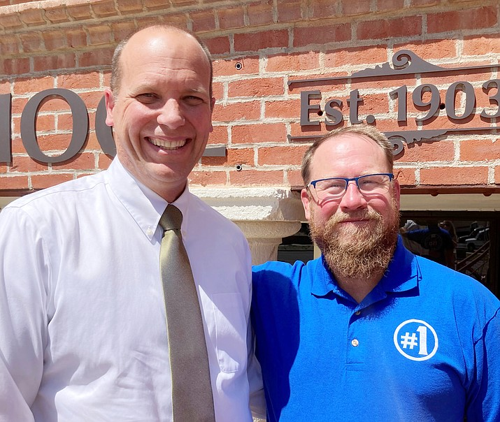 Prescott High School Principal Mark Goligoski stands with Prescott Unified School District Superintendent Joe Howard on Tuesday, April 13, 2021. Goligoski is resigning his position for a dean of students and athletic director job in Tucson. (Nanci Hutson/Courier)