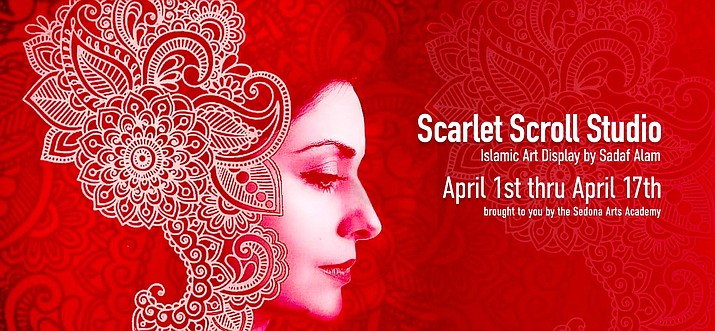 Sedona Arts Academy announces the Scarlet Scroll Art Show through April 17. Pictured, Sadaf Alam, owner and artist at Scarlet Scroll Studio. Courtesy photo