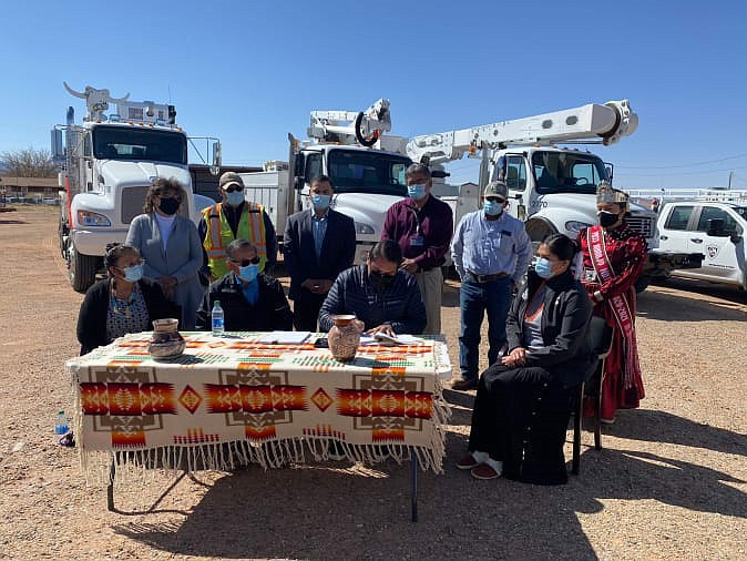 """""""Navajo Nation's renewable energy future takes step forward with 70-megawatt emissions free energy project in Red Mesa community."""" (Photo courtesy President Jonathan Nez via Twitter)"""