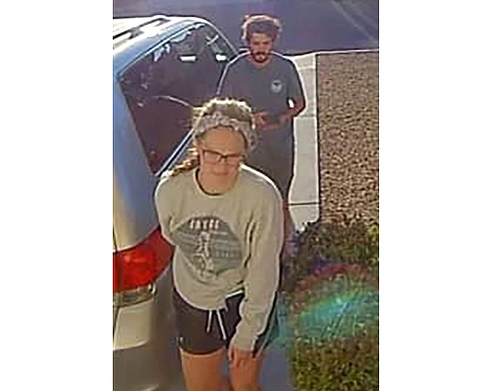 In this undated image released by the Inyo County Sheriff's Office shows campers Alexander Lofgren, 32, top, and Emily Henkel, 27. An Arizona tourist died and his girlfriend was rescued April 9, 2021 after they went missing in Death Valley National Park. Alexander Lofgren, 32, and Emily Henkel, 27, were found on a steep ledge near Willow Creek in the California desert park but Lofgren was dead, according to a statement from the Inyo Creek Sheriff's Office.(Inyo County Sheriff's Office via AP)