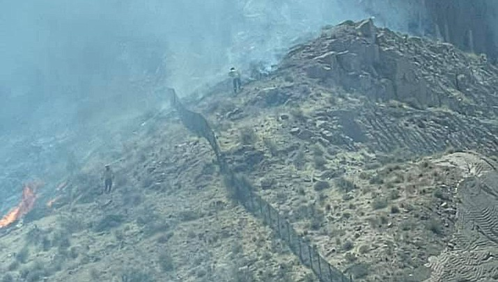 A red flag wildfire warning, indicating that conditions are ideal for the extreme fire behavior, has been issued through 8 p.m. today for the Kingman area by the National Weather Service. A fire near the Cerbat Cliffs Golf Course in Kingman was extinguished quickly on Tuesday, April 13. (City of Kingman courtesy photo)
