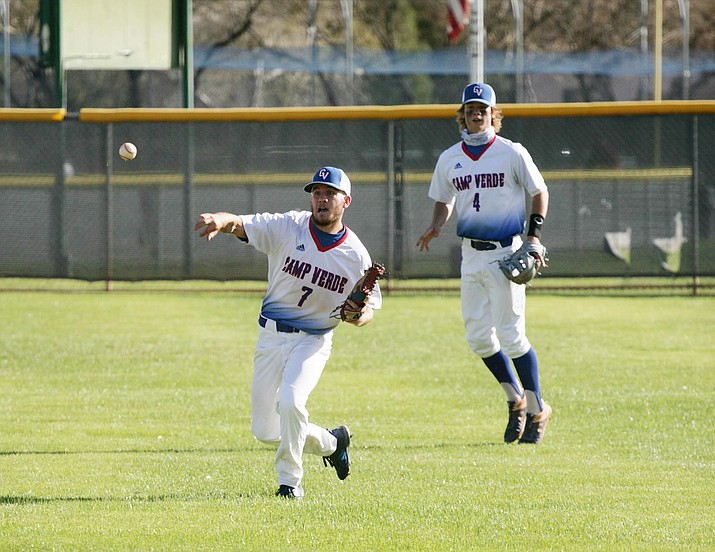 With Cole Gillespie (No. 4) resuming his catching duties, Peyton Kelley (No. 7) should see more time in the infield for the Camp Verde High School baseball team. VVN/Bill Helm