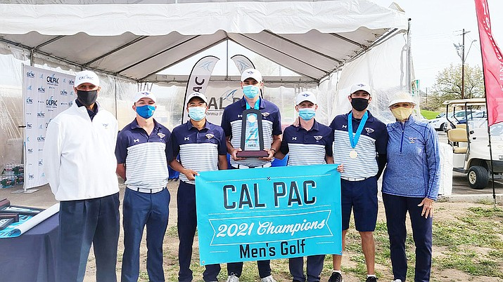 The Embry-Riddle men's golf team took home a California Pacific Conference championship Wednesday, April 14, 2021, at Antelope Hills Golf Course in Prescott. (ERAU Athletics/Courtesy)