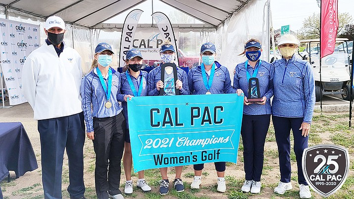 The Embry-Riddle women's golf team took home a California Pacific Conference championship Wednesday, April 14, 2021, at Antelope Hills Golf Course in Prescott. (ERAU Athletics/Courtesy)