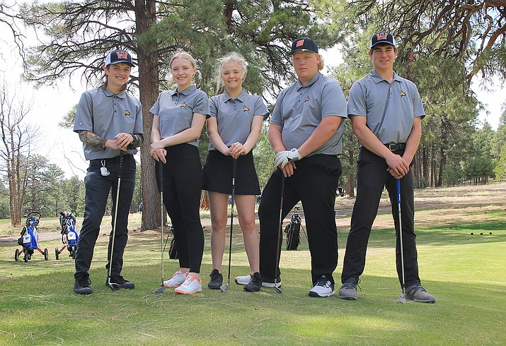 The Vikings golf team includes (from left) Brock McCarthy, Dakota Dent, Ashley Alexander, Briton Cox and Levi Burlington. Not pictured: Mauricio Gonzalez. (Wendy Howell/WGCN)