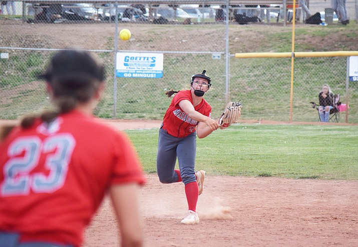 Mingus Union junior Marissa Vocca fires a throw to teammate McKell Gordon in a recent game. Vocca homered to end Tuesday's win over 4a Grand Canyon Region rival Bradshaw Mountain by mercy rule. VVN/Jason W. Brooks
