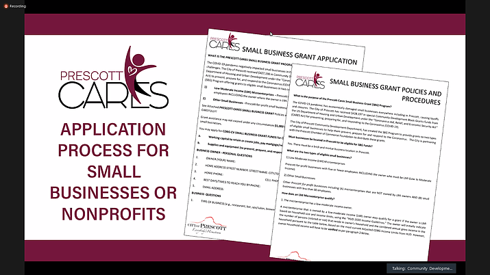 Screenshot of the Prescott CARES webinar April 15, 2021, that explains the application process for small businesses and nonprofits to access $427,000 in grants from the Department of Housing and Urban Development. (Webinar screenshot)