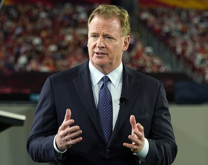 In this Feb. 5, 2021 photo, NFL Commissioner Roger Goodell talks during a ceremony as part of Super Bowl 55 in Tampa, Fla. The NFL has announced new media deals with CBS, Fox, NBC, ESPN/ABC and Amazon to the tune of $113 billion over 11 years. (Charlie Riedel/AP, File)