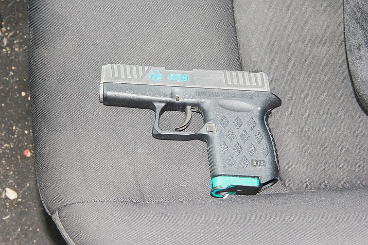 Prescott Police Department recovered a handgun that was used during a drive-by shooting on Monday, March 29, 2021, near the intersection of Summit Avenue and Gurley Street in Prescott, which was allegedly committed by four juvenile and one adult suspect. This shooting was a part of a string of connected incidents that occurred toward the end of March. The suspects were ultimately arrested, charged and booked into the Yavapai County Juvenile Detention Center or Yavapai County jail. (Prescott PD/Courtesy)