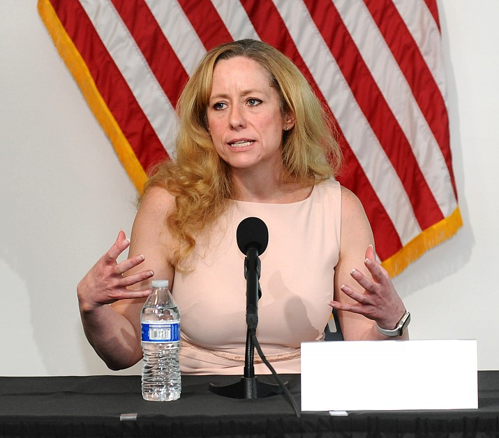 Arizona Health Director Dr. Cara Christ on Thursday, June 4, 2020, talks with reporters at a press conference about COVID-19. (Howard Fischer/Capitol Media Services, file)