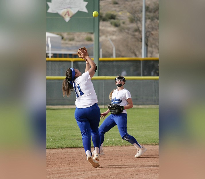 Camp Verde recently lost senior shortstop Jenna Huey (No. 11) to a concussion suffered in the team's April 9 loss at home against Northwest Christian. VVN/Bill Helm