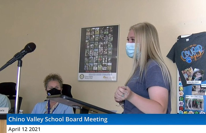 Chino Valley High School Student Body President Emery Rock updates the Chino Valley Unified School District governing board on the upcoming end-of-the-year activities during a meeting on Monday, April 12, 2021, in Chino Valley. (Image from video)