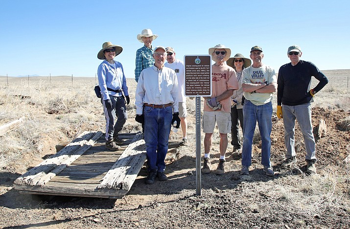 Yavapai Trails Association volunteers take a photo while adding improvements to the Chino Valley Peavine Trail during a work day on Saturday, April 10, 2021. (Ann Hendrickson/Courtesy)