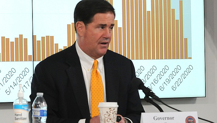 Republicans who control the Arizona Legislature on Monday amended a sweeping anti-abortion bill to satisfy concerns of a lone GOP senator who voted against the measure earlier this month and blocked it from advancing. Gov. Doug Ducey is shown. (File photo by Howard Fischer/For the Miner)