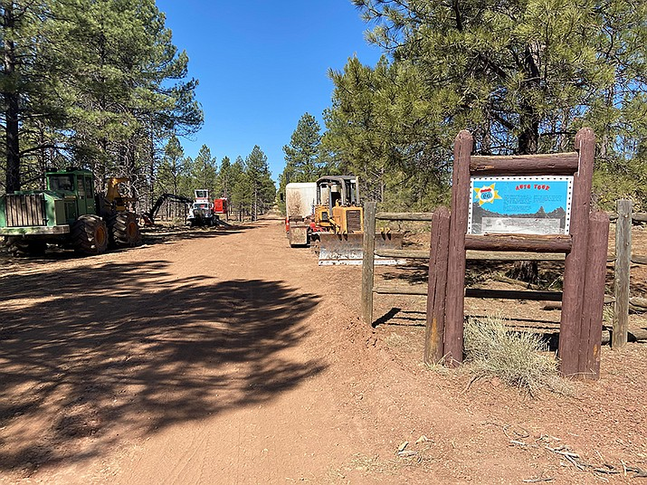 The Saddle Timber Sale is underway in Parks. The USFS has approved the use of a portion of an old Route 66 alignment for operations. (Wendy Howell/WGCN)