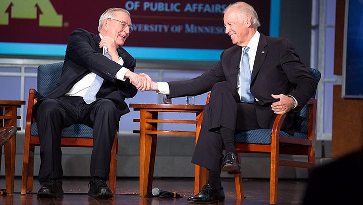 Former U.S. Vice President Walter Mondale, who served under Jimmy Carter, has died at age 93. Mondale is shown with then Vice President Joe Biden in this photo taken at the University of Minnesota in 2015. (White House file photo/Public domain)