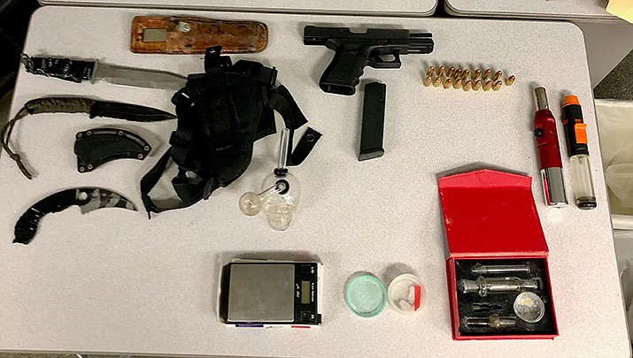 These items were seized during the arrest of two Californians near Topock on April 16. (MSCO photo)