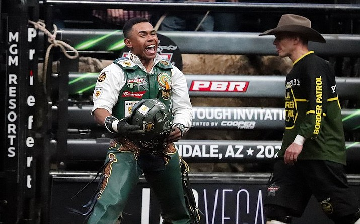 Keyshawn Whitehorse yells and smiles after a 90.25 ride in the final round to secure his firest event win of 2021.  (Photo/Marlee Smith)