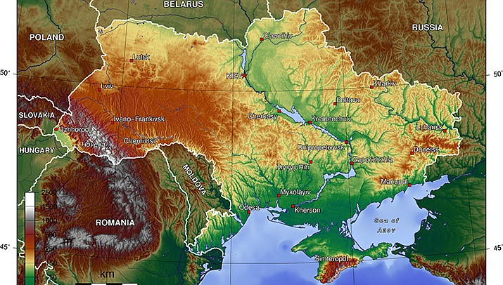"""The European Union's foreign policy chief said Monday that in the face of the big military buildup of Russian troops near Ukraine's borders, it will only take """"a spark"""" to set off a confrontation.  A map of Ukraine is shown. (Public domain)"""