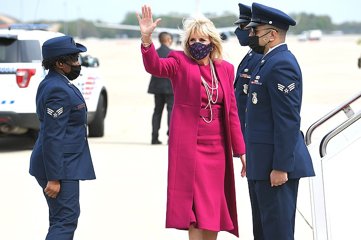 First lady Jill Biden makes her way to board a plane before departing from Andrews Air Force Base, Maryland April 21. Biden is traveling to New Mexico and Arizona. (Mandel Ngan/ Pool via AP)