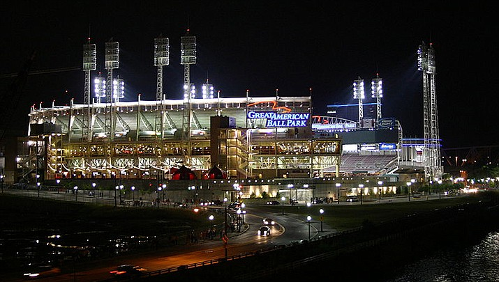 The Major League Baseball game between the Arizona Diamondbacks and the Cincinnati Reds at Great American Ballpark in Cincinnati was halted by snow in the eighth inning with the Diamondbacks leading 5-4 on Tuesday, April 20. (Photo by Minorfreak, cc-by-sa-2.0, https://bit.ly/3eovNa0)