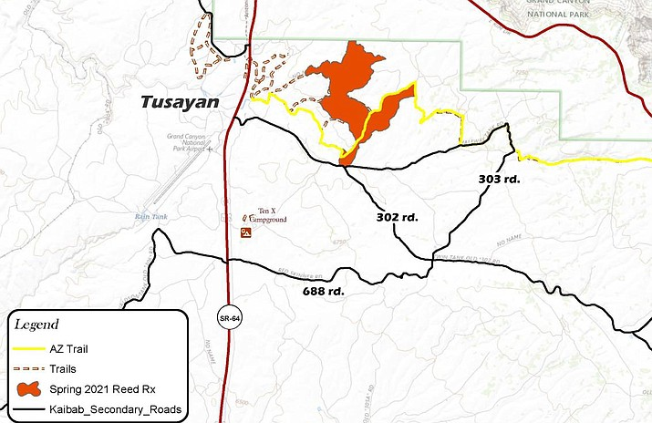 A prescribed burn on Tusayan Ranger District will begin April 26. (Map/USFS)