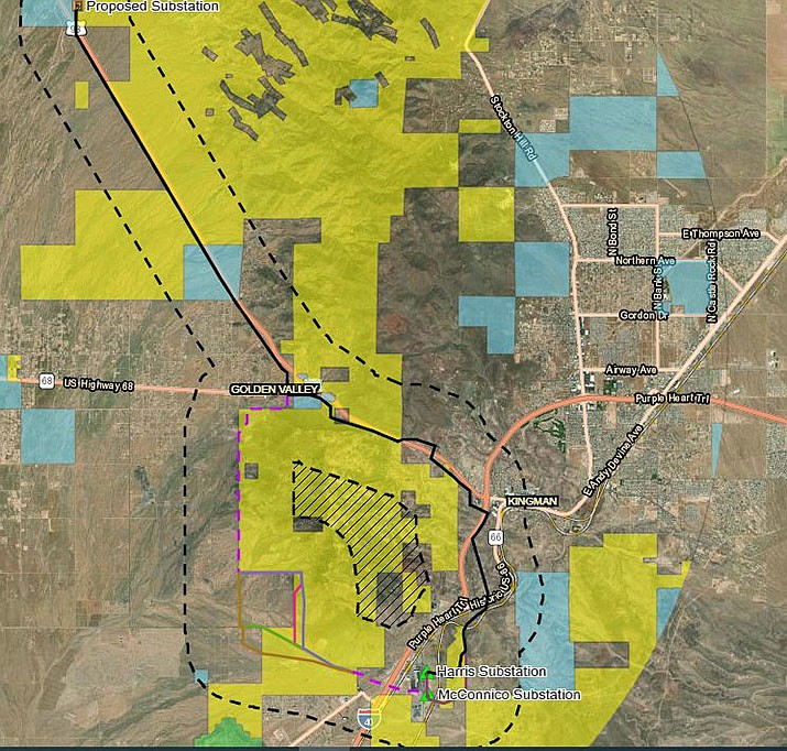 The six routes being considered for the Golden Valley 230kV Transmission Line Project share a common alignment to the north, but split at the southern half of the project with alternatives to the east and west. (Courtesy photo)