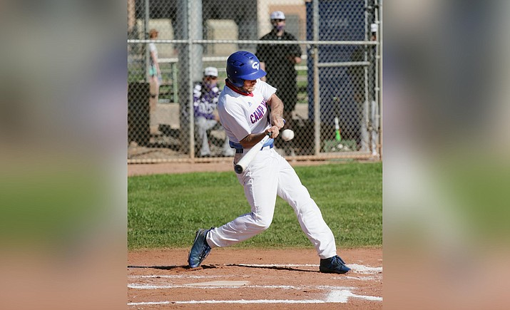 Peyton Kelley had three of Camp Verde's eight hits in the Cowboys' 13-2 loss to Williams, April 20. VVN/Bill Helm