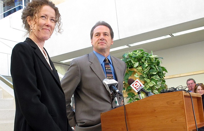 Tracy Stone-Manning (left) has been nominated by President Joe Biden to lead an agency that oversees about a quarter-billion acres of public lands in western states. (AP Photo/Matt Gouras, File)