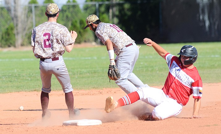 A Mingus Union baserunner slides into second base in the Marauders' 17-16 win on April 19 at home against Winslow. Mingus Union used three pitchers to defeat the Bulldogs. Now 4-10 on the season, Mingus Union, has five games left. VVN/Vyto Starinskas