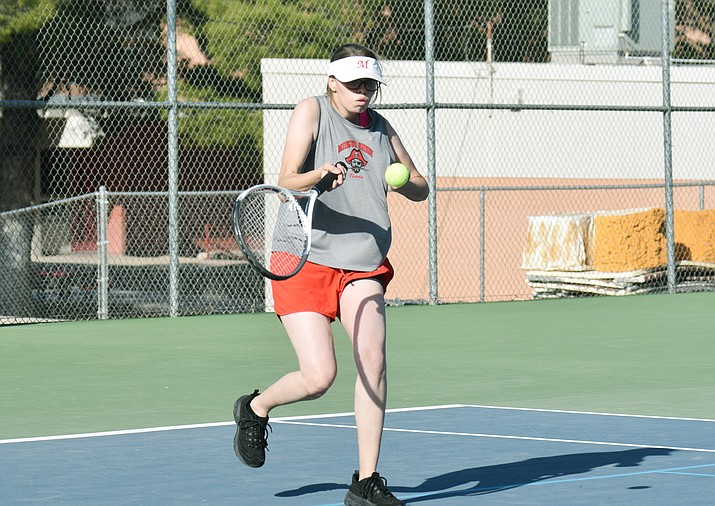 Destiny Swapp competes in a recent Mingus Union girls tennis dual. The Marauders wrapped up the 2021 season this week with a pair of wins. VVN/Jason W. Brooks