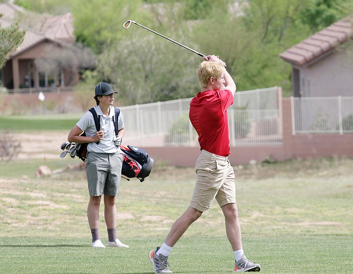 Camp Verde senior golfer Joseph Tinghitella shot a 73 his first top-five competition of the season. Tinghitella is pictured (at right) shooting toward the fairway Thursday at Agave Highlands. VVN/Bill Helm